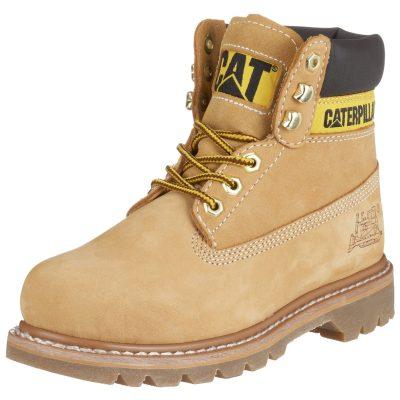 740235f90 Pánske pracovné hi-top topánky zn. Cat Footwear. Zvršok nubuk. Farebné  prevedenie: žlto-svetlohnedá (honey), textilná podšívka. Výška podpätku  2,5cm.